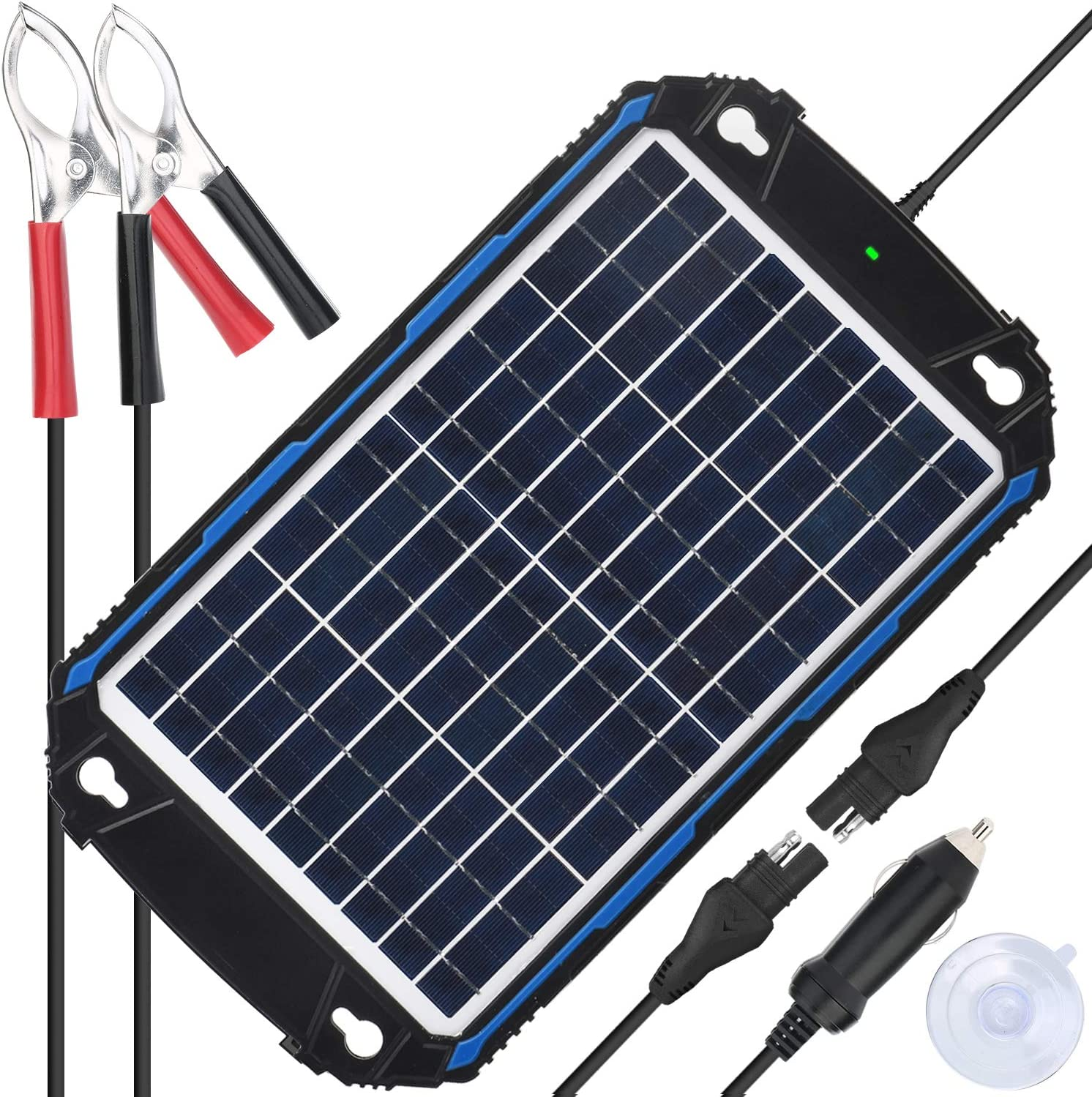 Marine RV etc 10 Watts Solar Panel Trickle Charging Kit for Car Upgraded Waterproof 12V Solar Battery Charger /& Maintainer Pro Built-in Intelligent MPPT Charge Controller Motorcycle