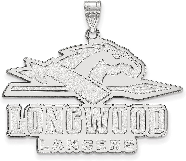 925 Sterling Silver Rhodium-plated Laser-cut Longwood University XL Pendant