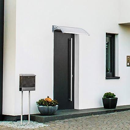 Relaxdays – Marquesina toldo Techo para Puertas protección, plástico, Aluminio, 80 x 60 cm, tejado, Transparente: Amazon.es: Jardín