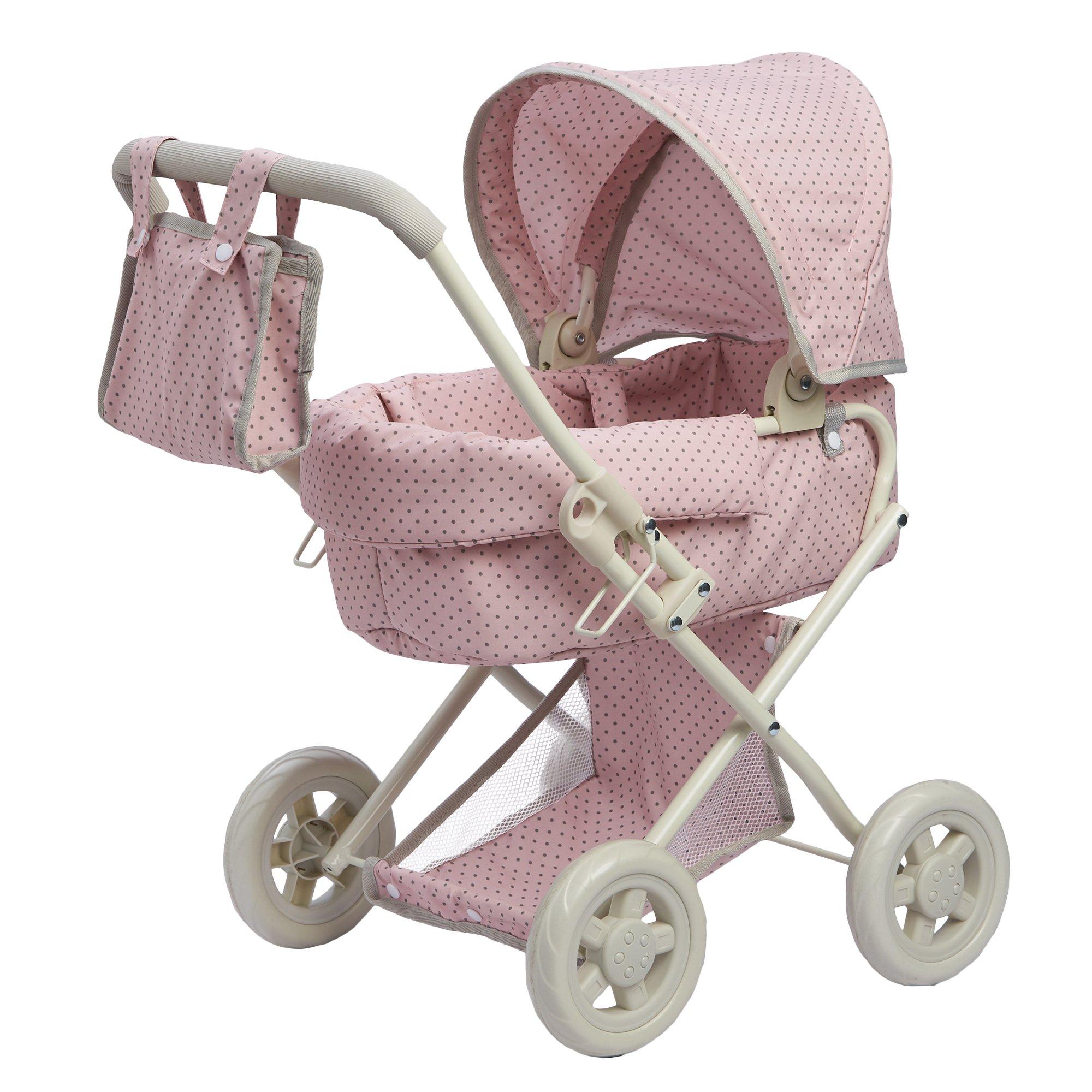 Olivia's Little World 16'' Baby Doll Furniture Stroller, Pink/Grey, 22'' x 14.37'' x 25.2''