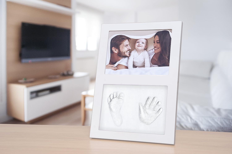 Baby Hand- und Fu/ßabdruck Set mit gro/ßem Bilderrahmen f/ür M/ädchen und Jungen Babyparty oder Taufe Wei/ß Click /& Clay ideal als Geschenk zur Geburt