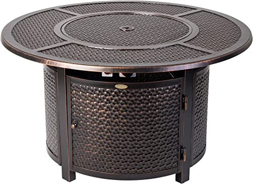 Fire Sense Briarwood Round Hammered Aluminum LPG Fire Pit Table Antique Bronze Finish 50,000 BTU Output Uses 20 Pound Propane Tank Fire Bowl Lid, Vinyl Weather Cover, and Clear Fire Glass