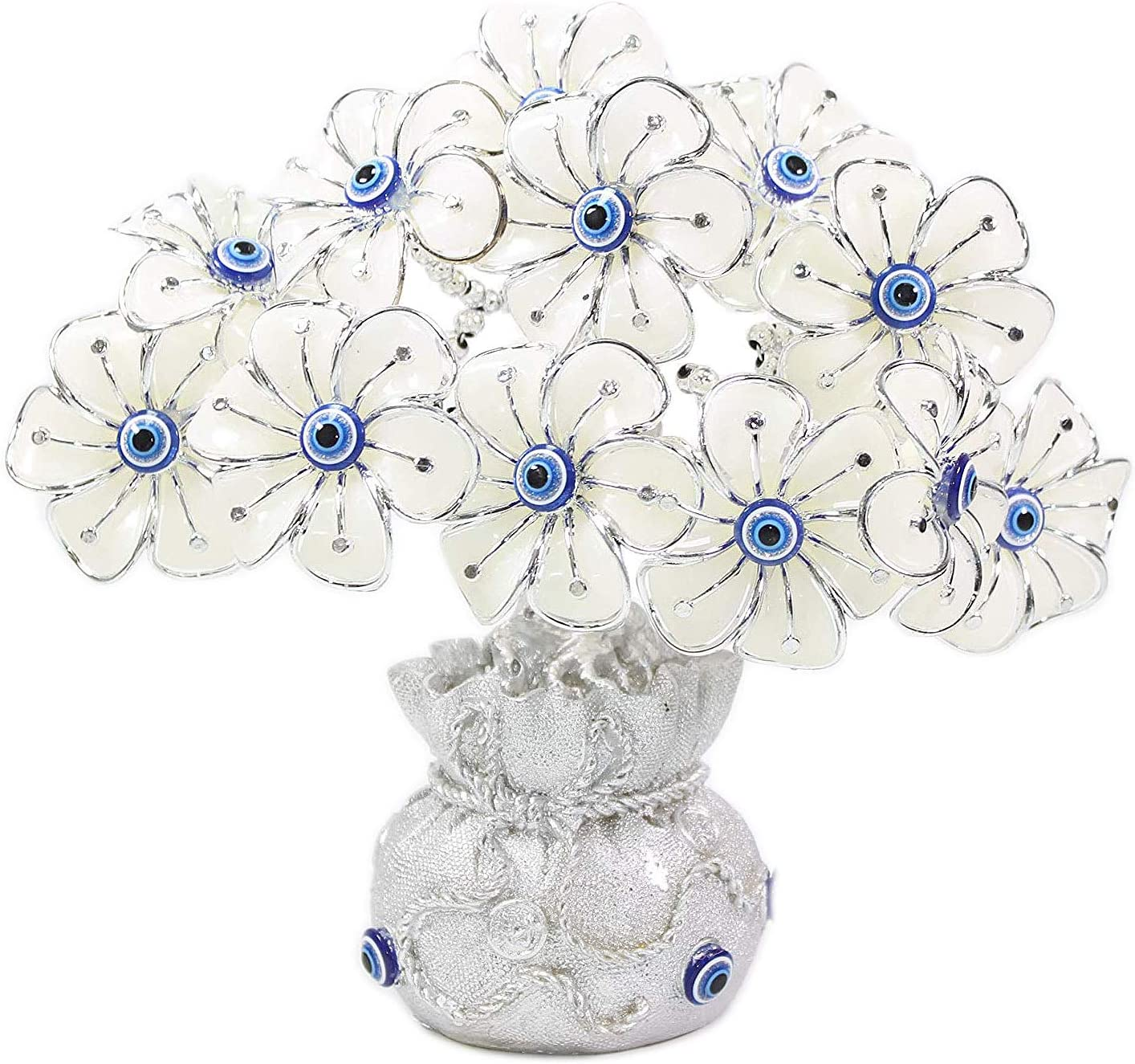 "We pay your sales tax 8"" Turkish Blue Evil Eye White Flowers Money Fortune Bag Base Tree Protection Good Luck Gift (TRE305)"
