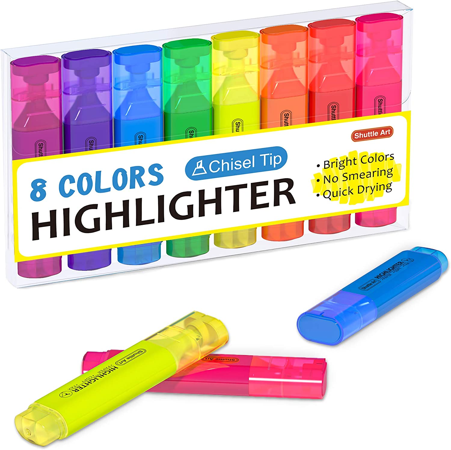 Highlighters, Shuttle Art 8 Assorted Colors Highlighter Pens, Chisel Tip Dry-Quickly Non-Toxic Highlighter Markers for Adults Kids Highlighting in the Home School Office : Office Products