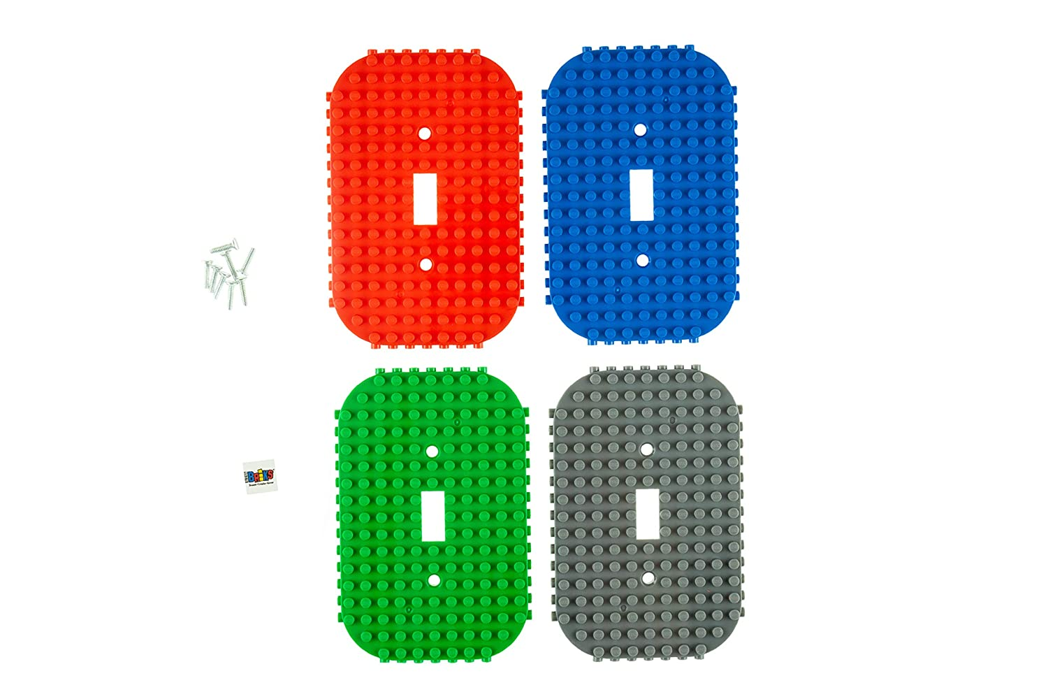 Classic Light Switch Baseplate Covers by Strictly Briks   Building Bricks Base Plates   100% Compatible with All Major Brands   Unique Cover for Bedrooms & Play Rooms   4 Pack Blue, Green, Red, Gray