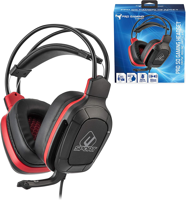 Subsonic - Auriculares para jugador con micrófono, Pro Gaming 50, esport rojo (PS4 Slim /Pro / Xbox One / PC / Nintendo Switch - esport rojo: Amazon.es: Videojuegos