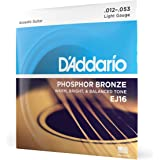 (Pack of 1, Light) - D'Addario EJ16 Phosphor Bronze Acoustic Guitar Strings, Light