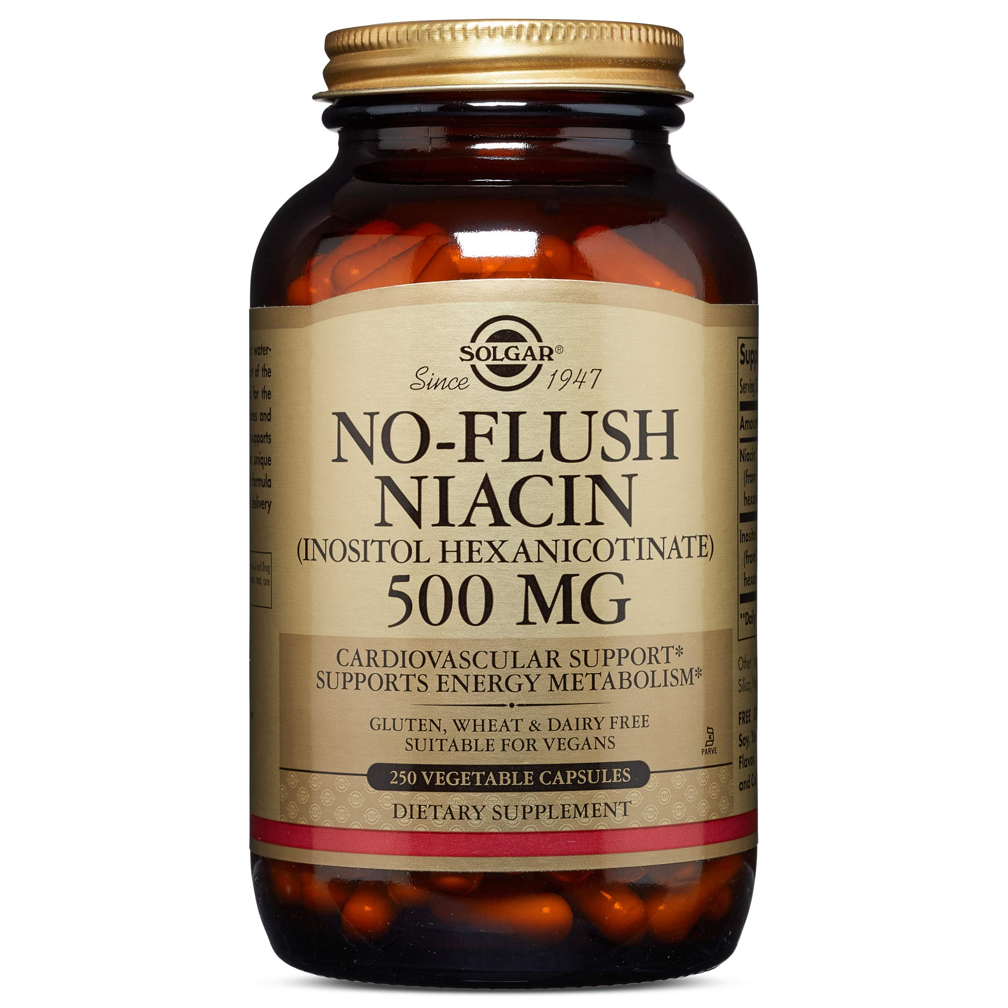 Solgar - No-Flush Niacin (Vitamin B3)(Inositol Hexanicotinate) 500 mg, 250 Vegetable Capsules by Solgar