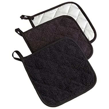 DII Cotton Terry Pot Holders, 7x7   Set of 3, Heat Resistant and Machine Washable Hot Pads for Kitchen Cooking and Baking-Black