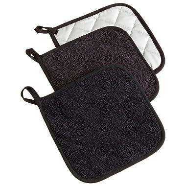 DII 100% Cotton, Machine Washable, Heat Resistant, Everyday Kitchen Basic Terry Pot Holder Set, Potholder, Black