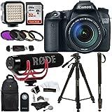 "Canon EOS 70D Digital SLR Camera with 18-135mm STM Lens + Rode VMGO Video Mic GO Lightweight On-Camera Microphone Super-Cardio + Sandisk 32GB Class 10 + 72"" Tripod + Monopod + Polaroid Accesory Kit"