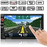 "Auto GPS Navigation, OCDAY Auto Radio Stereo Receiver MP5 Spieler Doppel din 7"" Zoll HD Touchscreen mit Bluetooth GPS Navigationssystem Free 8GB Map Karte und HD-Rückseiten-Kamera"