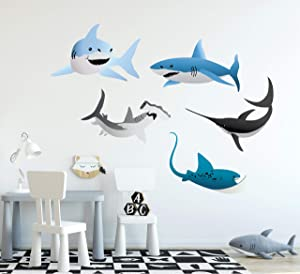 Shark Wall Decal Vector Sharks Stingray Wall Stickers Sea Animals Fish for Childrens Boys Room Decor Set of 5