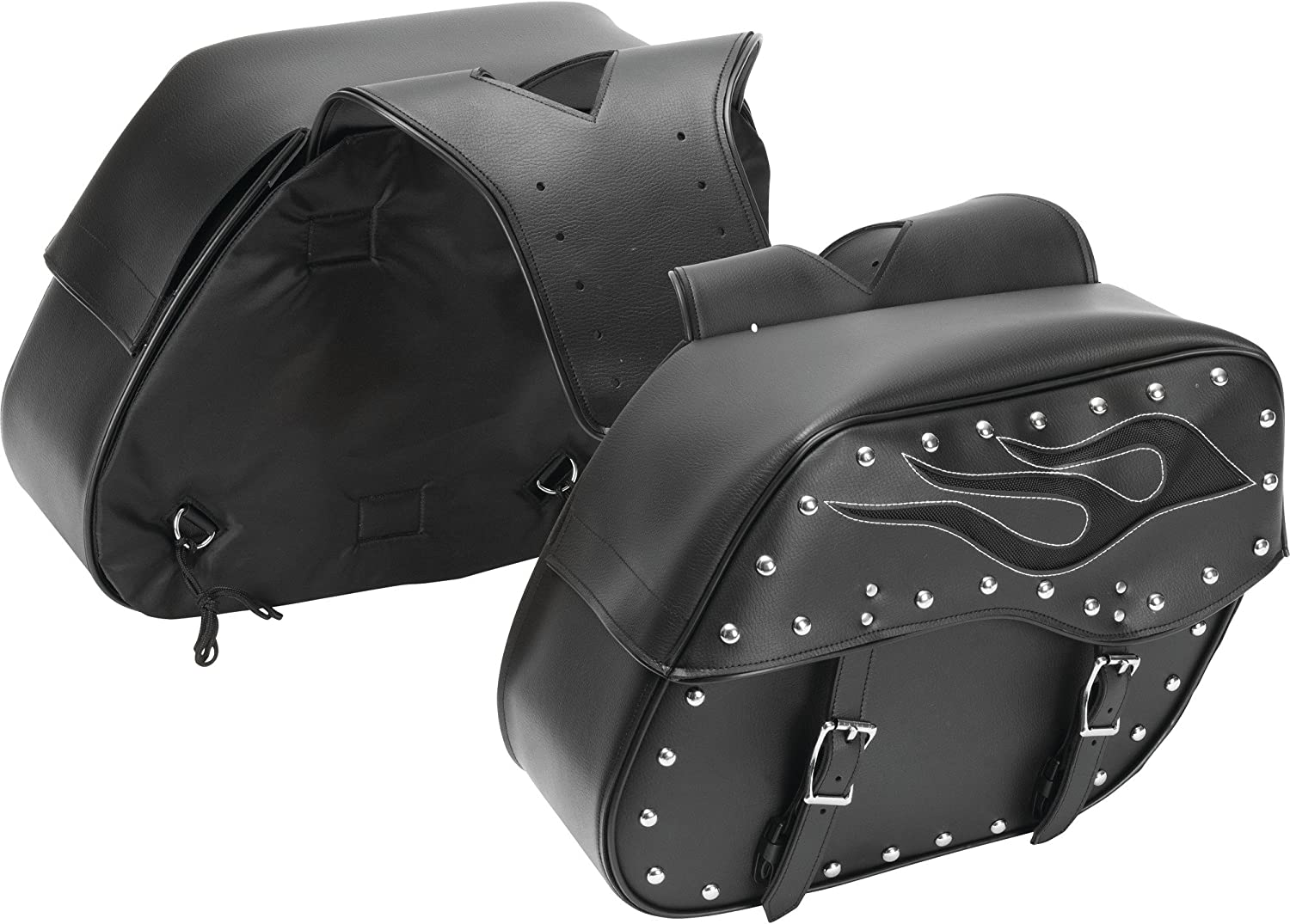 Diamond Plate 2pc Motorcycle Saddlebag Set with Flame Design