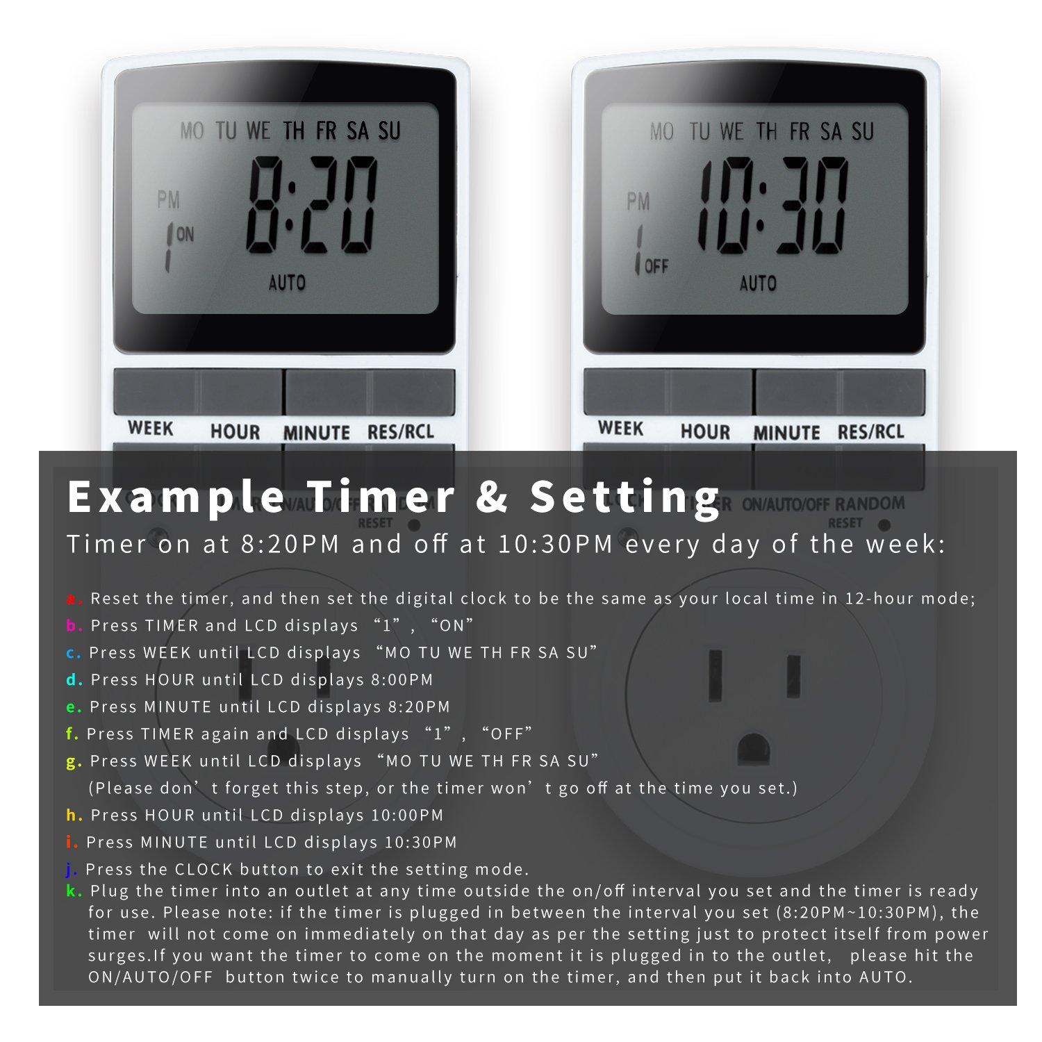 7 day programmable plug in digital timer switch with 3 prong 7 day programmable plug in digital timer switch with 3 prong outlet for lights and appliances 15a1800w 1 pack amazon sciox Images