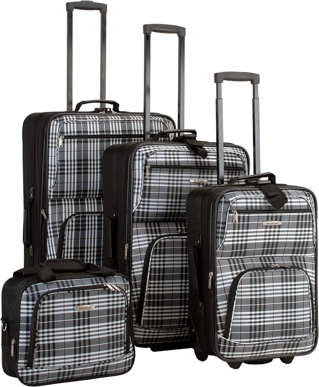 Rockland Fashion Softside Upright Luggage Set, Black Plaid, 4-Piece (14/20/24/28)