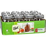 Ball Glass Mason Jar with Lid and Band, Regular Mouth, 16 Ounces, 12 Count