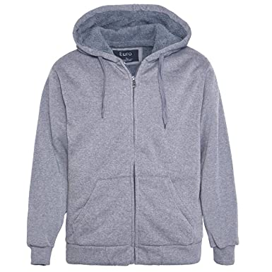 acc602a4e0f Erin Garments Mens Zip Front Hoodie Oversized Heavyheight Sherpa Lined  Sweatshirt Black Grey Long Sleeve Jacket