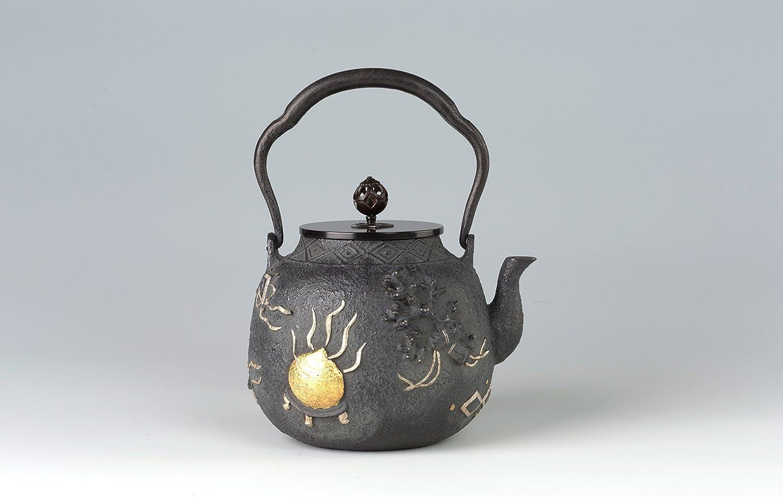 日本铁壶 【蝋型鉄瓶真形(大) 宝尽くし布目象嵌 2L】 IH対応 日本古董瓷器