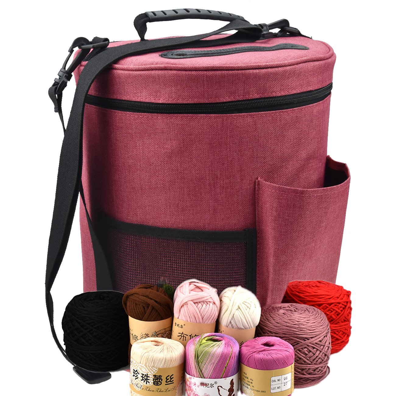Large Capacity/Portable/Lightweight Yarn Storage Knitting Tote Organizer Bag with Shoulder Strap Handles Looen Yarn Containers W/Pockets for Crochet Hooks & Knitting Needles (Leopard, 12.7X10.8) 12.7X10.8)