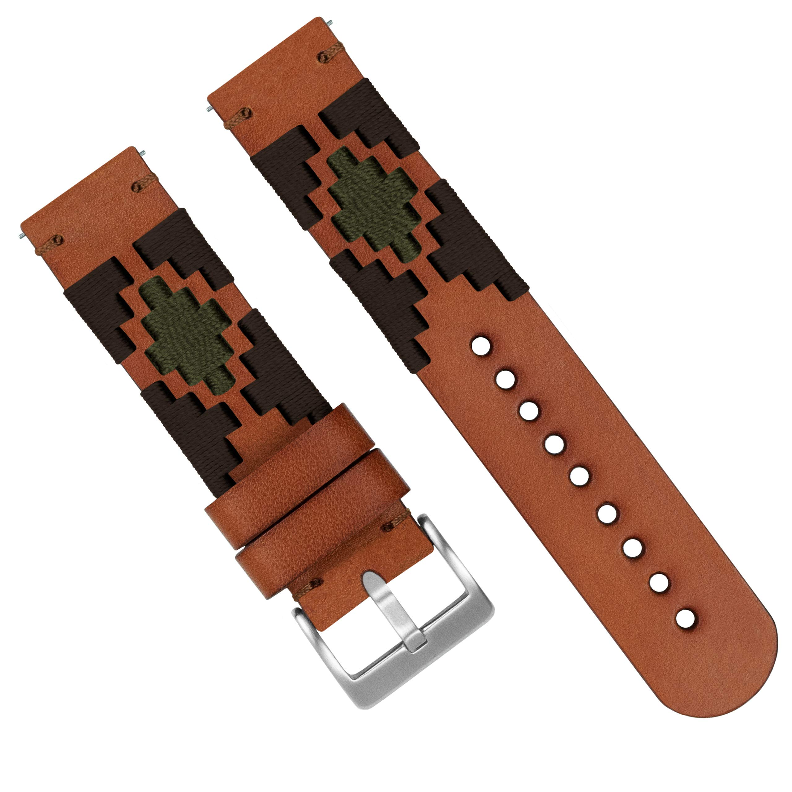 Barton Gaucho Leather Quick Release Watch Band Straps - Choose Color & Width - 18mm, 20mm, 22mm (20mm, Brown & Green) by Barton Watch Bands