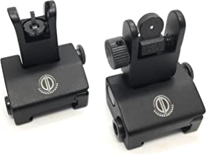 Dagger Defense -Combat Vet Owned Company- Tactical flip up BUIS Picatinny Rail Mounted Backup Iron Sights.