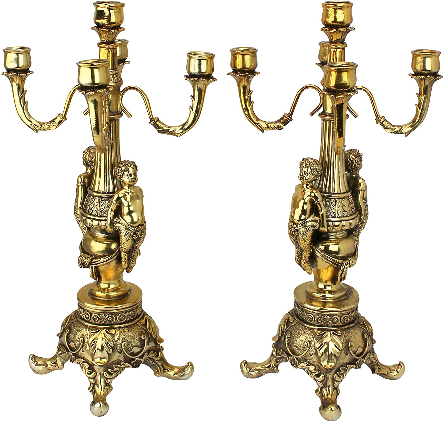 Design Toscano Grande Chateau Beaumont Candelabra Candle Holders, 20 Inch, Set of Two, Polyresin, Gold