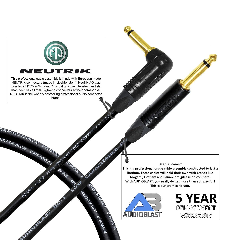 大切な 10足 – MM - audioblast hq-1 – 超柔軟な – デュアルシールド( np2rx-b 100 % ) – ギターベース楽器ケーブルW/ Neutrik np2rx-b Angled & np2 X - Bストレート1/ 4インチ( 6.35 MM ) TSプラグ B07B3N4DLY, イスミマチ:0517d14d --- vanhavertotgracht.nl