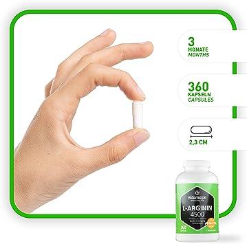 Vitamaze® L-Arginina 4500 mg Altamente Concentrada, 360 Cápsulas para 3 Meses, Adecuado para las Personas Alérgicas, Pura Natural L-Arginine HCL sin ...