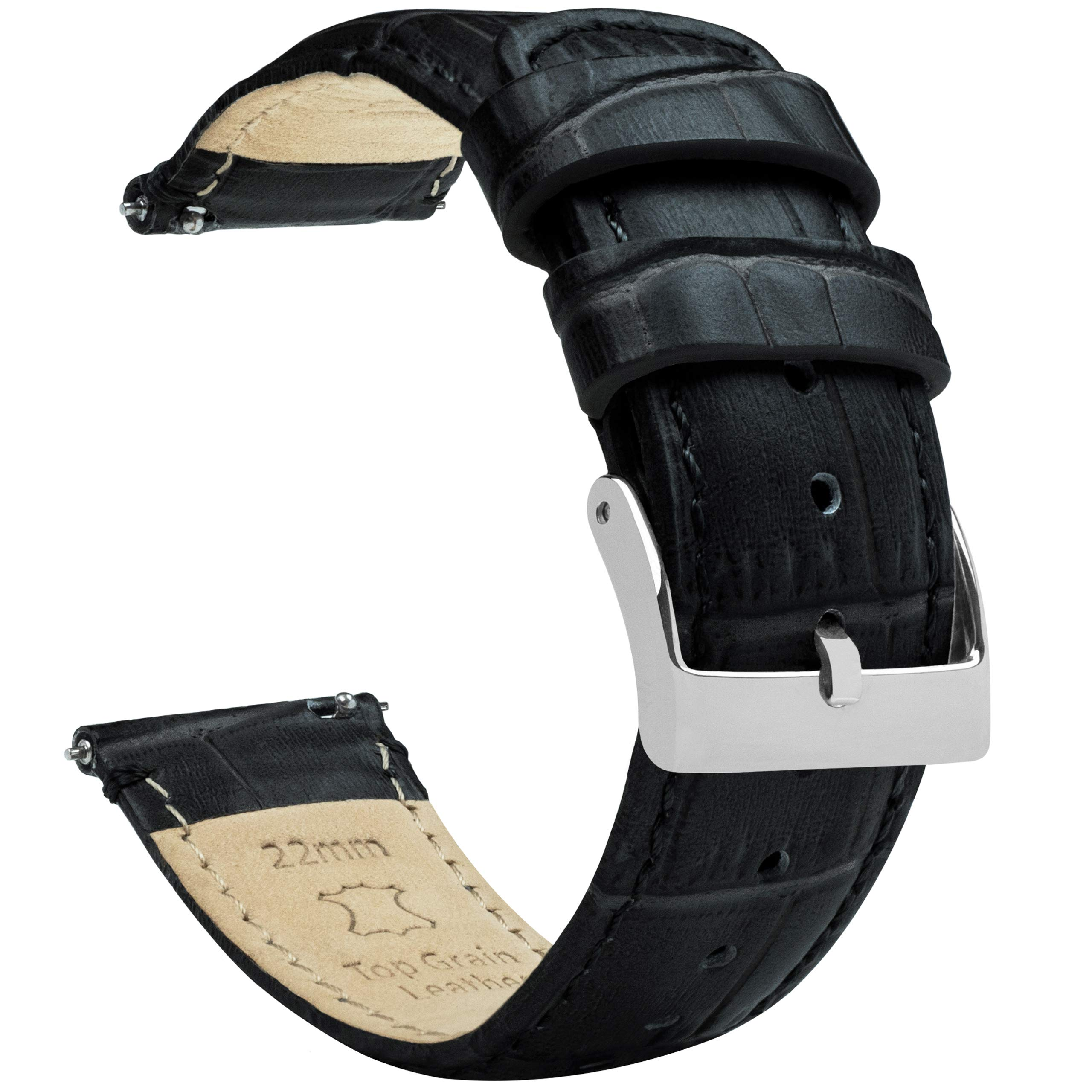 Barton Alligator Grain - Quick Release Leather Watch Bands - Choose Color Length & Width - 16mm 18mm 19mm 20mm 21mm 22mm 23mm or 24mm Standard or Long