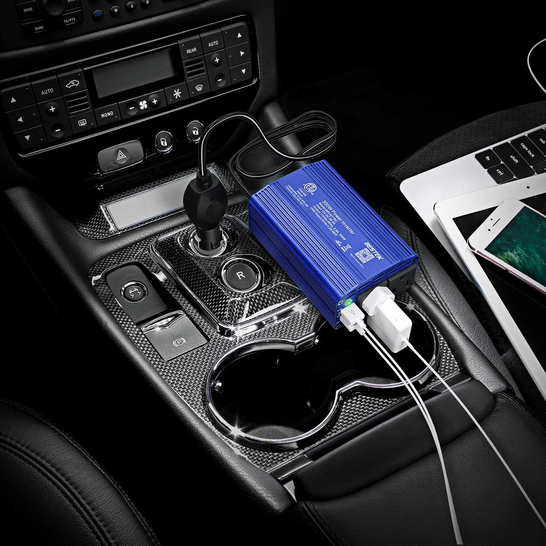 Black BESTEK 300W Power Inverter DC 12V to 110V AC Car Inverter with 4.2A Dual USB Car Adapter