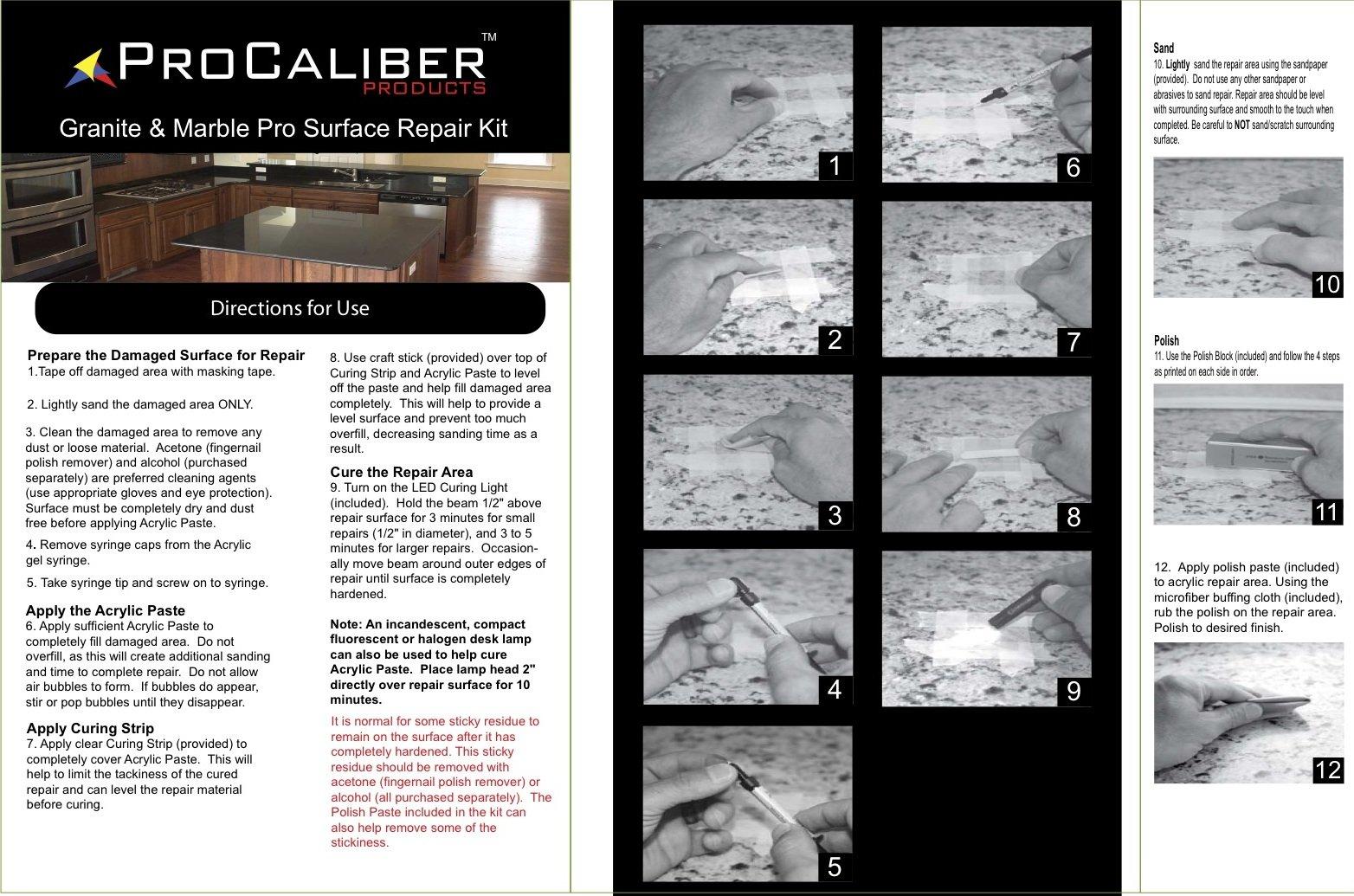 ProCaliber Products 20-13-1012 LCA Black Black Granite/Quartz and Marble PRO Chip Repair Kit, 0.07 oz.