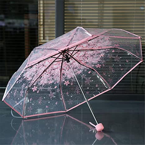 Amazon.com: Women Kids Rain Umbrella Rain Transparent Women Umbrella 3 Folding Classic Cherry Paraugas Clear Umbrella Blue: Sports & Outdoors