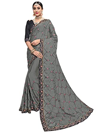 40bf86ac8c642 Amazon.com: Indian Traditional Bollywood Designer Party Wear Chiffon Saree  Sari Blouse S6132 Grey: Clothing