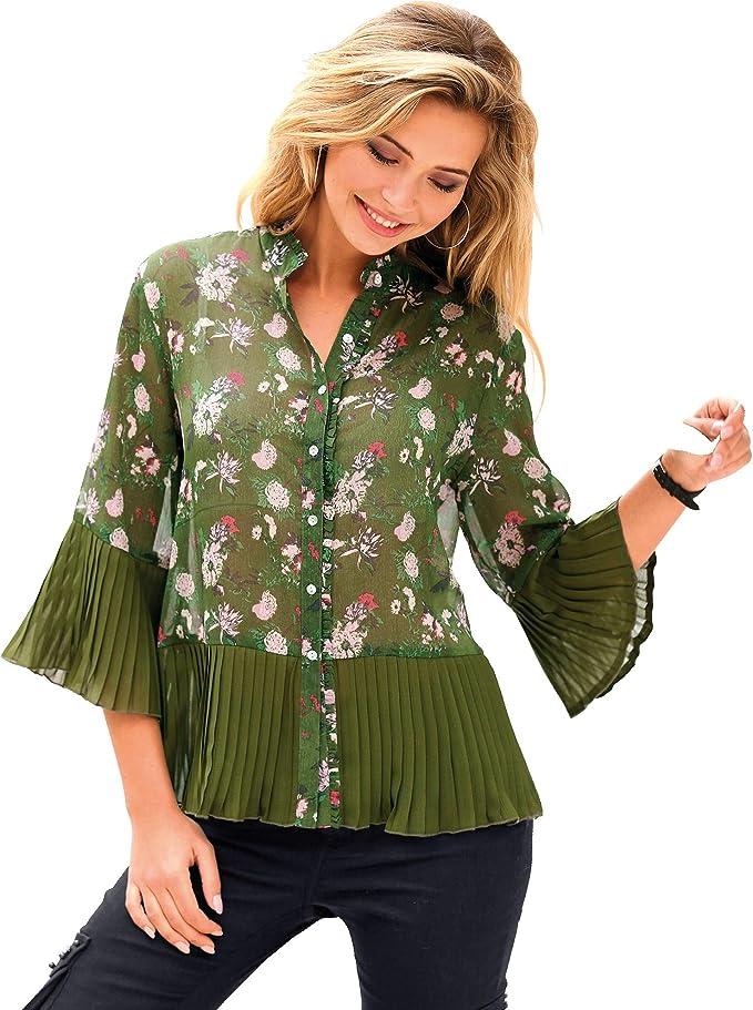 VENCA Camisa pequeño Volante Fruncido en el Cuello Mao y Tapeta Mujer - 016624