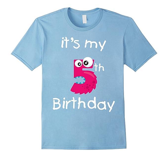 Mens Kids Shirt Cute Monster Its My 5th Birthday T 2XL Baby Blue