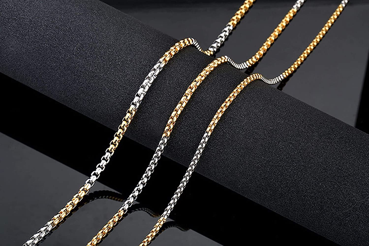 Gnzoe Mens Necklace Stainless Steel Flat Chain Necklace Silver//Gold//Silver Black//Rose Gold//Silver Gold