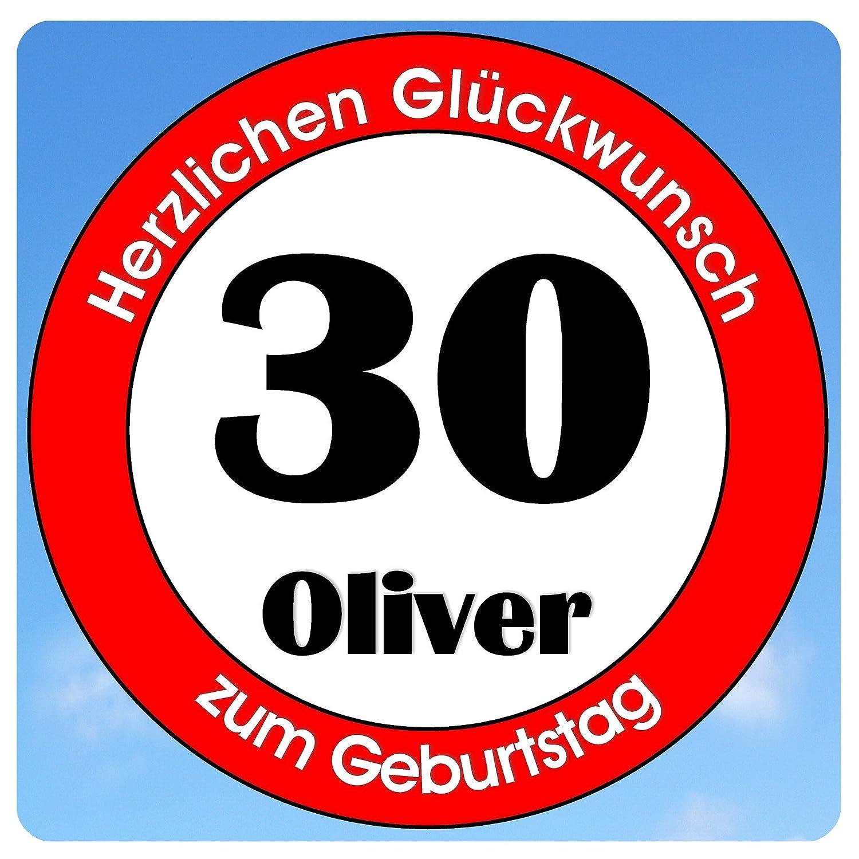 bedrucktes Aluschild 305 x 305 mm - Motiv Geburtstag 30 mit Wunschnamen und Wunschalter