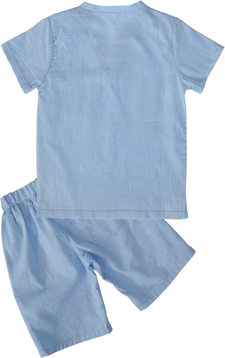 POBIDOBY Boys T-Shirt and Shorts Set Cotton Linen Summer Short Sleeve Children Two Pieces Clothing Sets