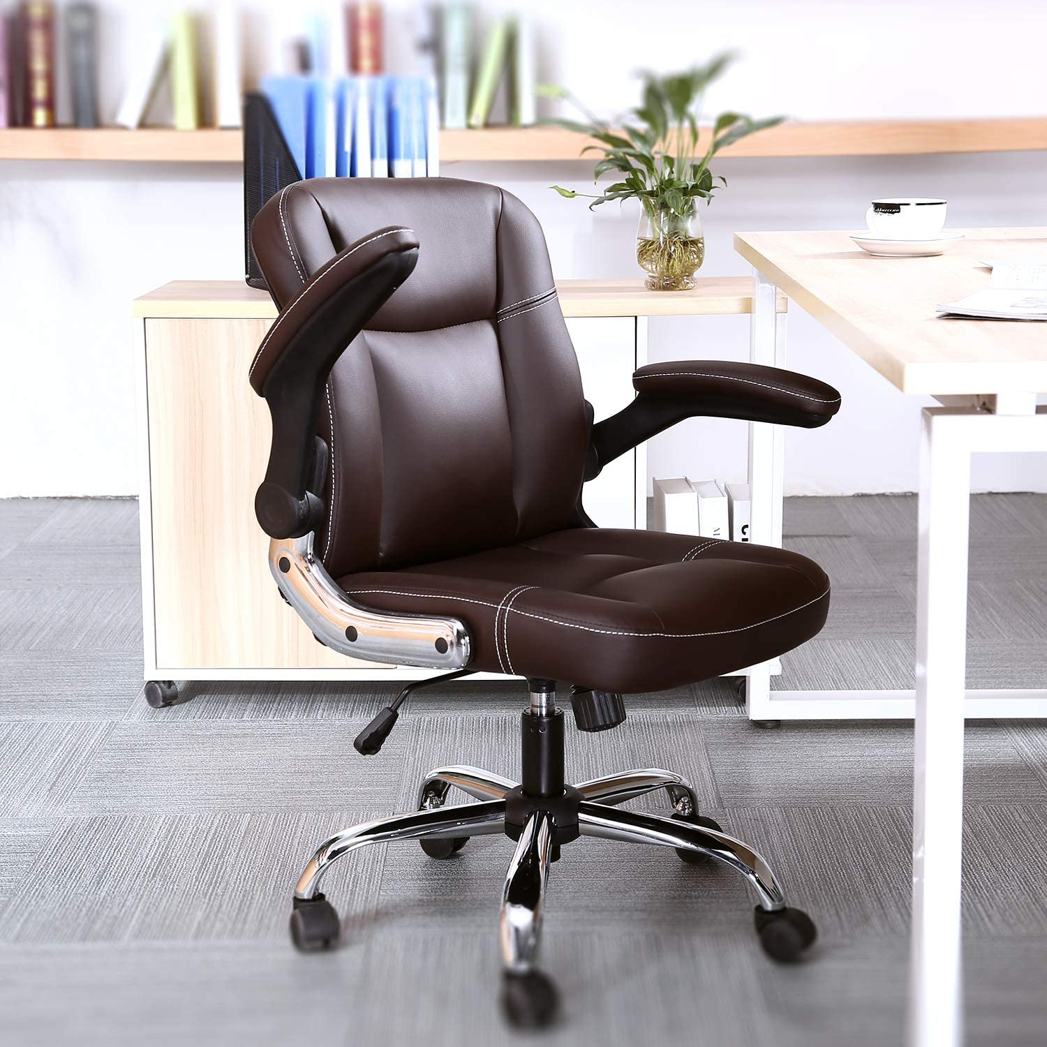 Myka s Ergonomic Leather Executive Office Chair High Back Computer Chair with Upholstered Armrest Brown
