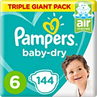 Pampers Baby-Dry Diapers, Size 6, Extra Large, 13+ kg, Triple Giant Pack, 144 Count