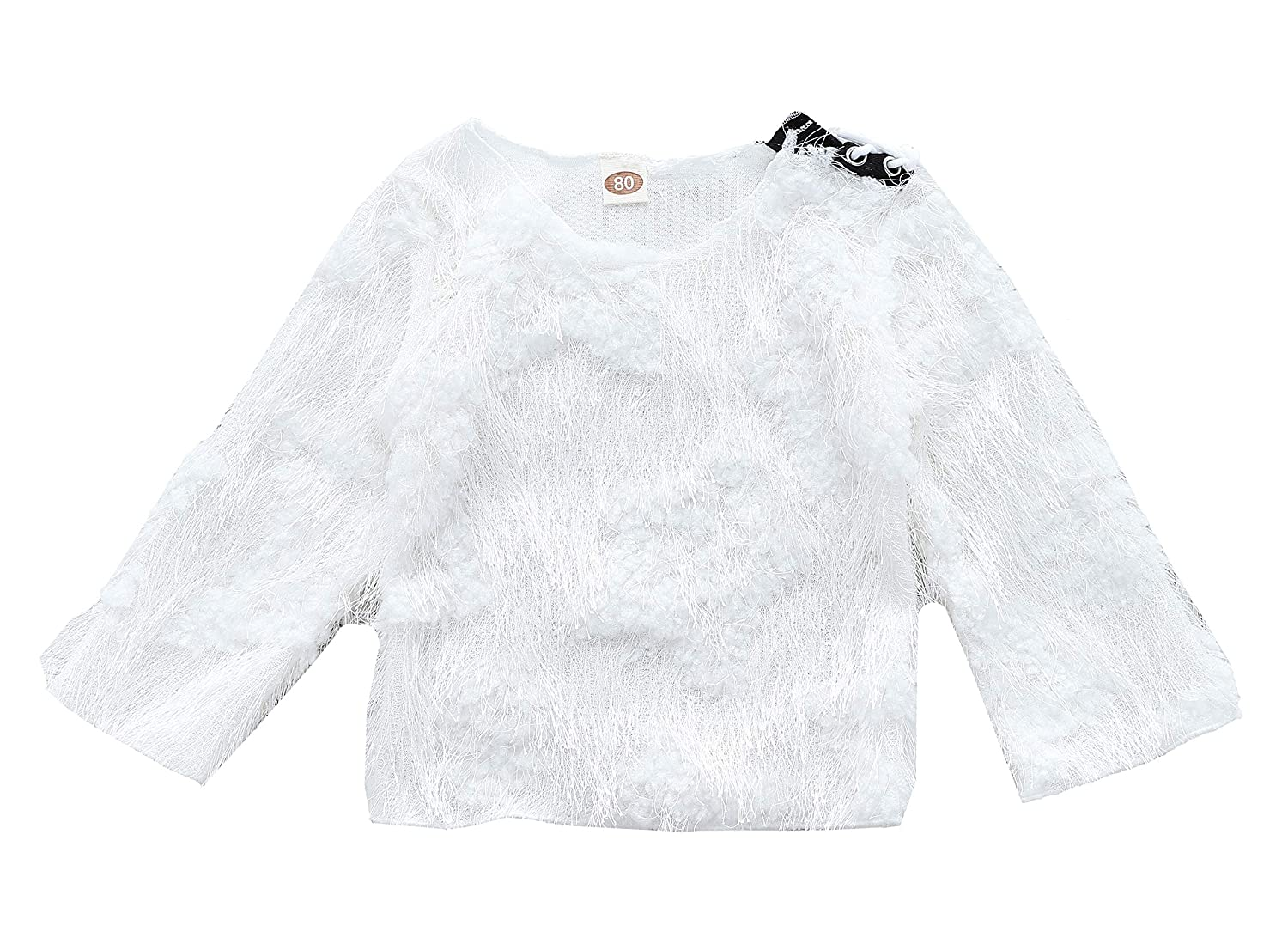 Anywow Baby Girls Fluffy Sweater Toddler Kids Winter Clothes Warm Knitted Flares Sleeve Pullover Jumper 0-4Years