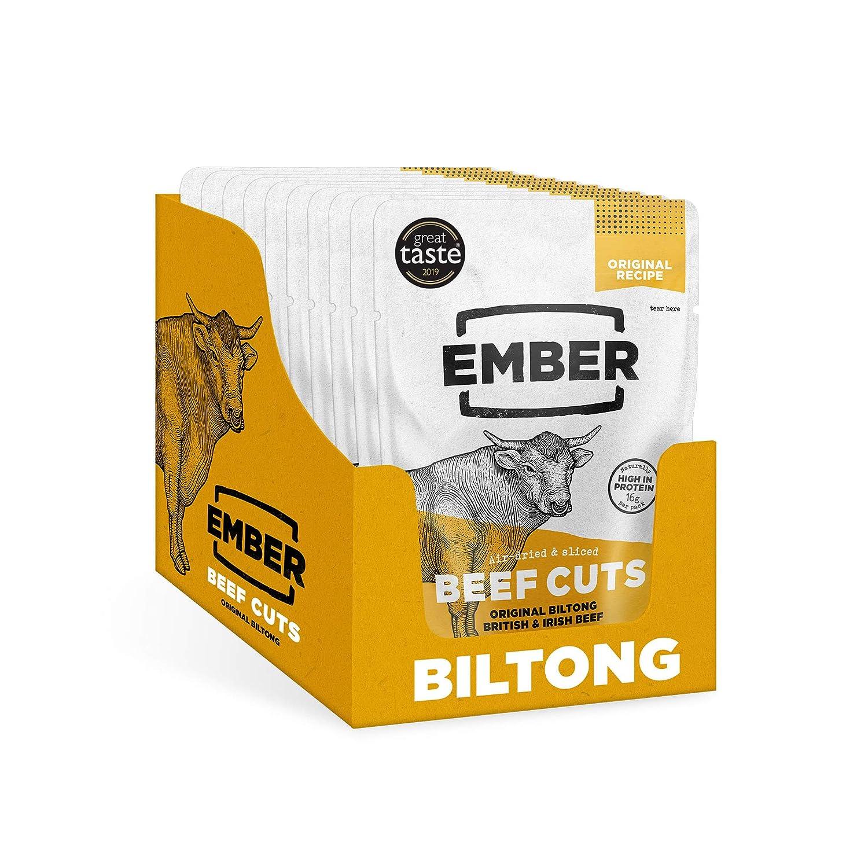 Ember Biltong - Carne Secca Beef Jerky Originale - Snack Proteico Tascabile, Senza Zuccheri Aggiunti - Gusto Original (10 Pacco)