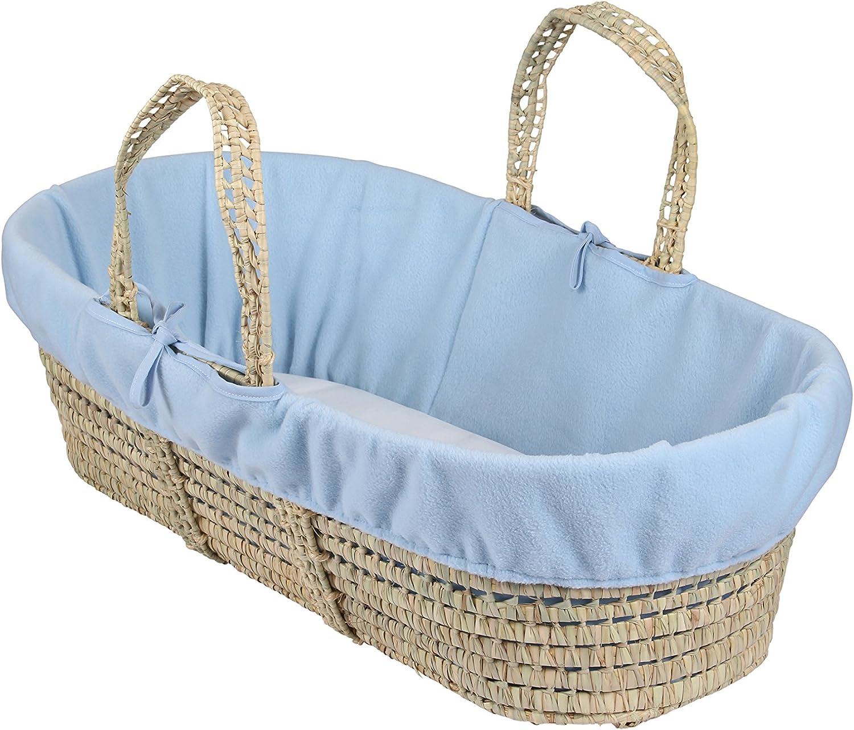 color azul Clair de lune Fleece Liner//compresa para Moses//cesta de mimbre