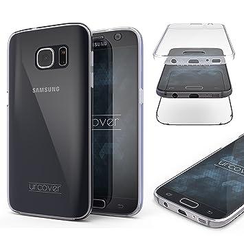 Urcover® Compatible con Samsung Galaxy S7 Funda [Nueva Versión] Mejorada Funda Carcasa [Completa 360 Grados] TPU Negro Crystal Clear Case suporto Qi