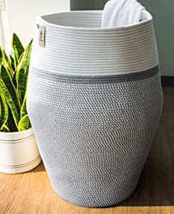 "Goodpick Laundry Hamper | Dirty Clothes Hamper | Wicker Cotton Rope Tall Laundry Basket, Modern Curve Bucket Bedroom Decort 25.6"" Height"
