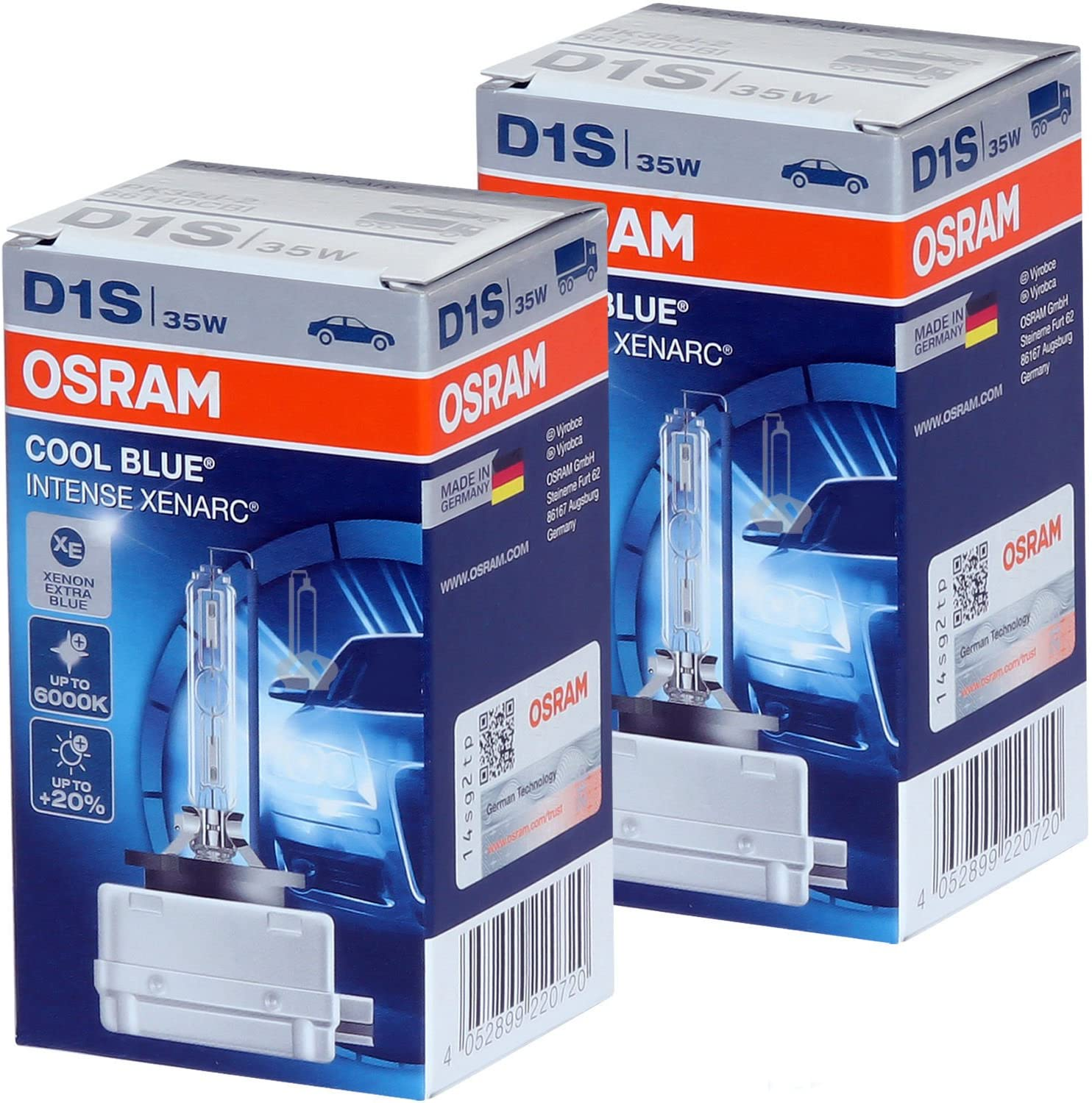 D1S - Osram Xenarc 66140CBI (Cool Blue Intense) HID Bulbs - Pack of 2