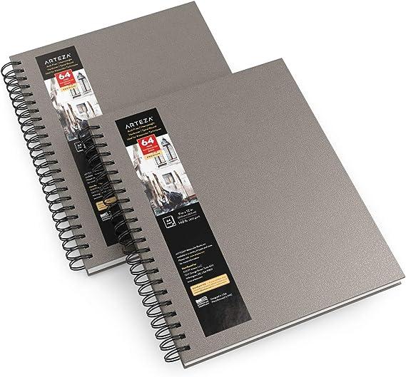 """Arteza Cuadernos de acuarela, 9x12"""" (22,9x30,5 cm), pack 2 diarios tapa dura gris, tota 64 hojas, papel acuarela 300 gsm, bloc espiral, también para gouache, acrílico, lápiz, medios húmedos y secos: Amazon.es: Hogar"""