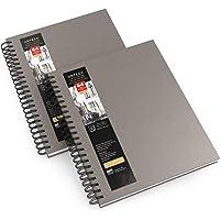 Arteza Premium Schetsboek, Set van 2 spiraalblokken met 64 velletjes elk, Aquarelblok van 22,9 x 30,5 cm, Schetsblok van…