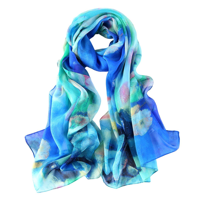 Long Fashion Chiffon Silk Scarves Floral Print